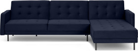 An Image of Rosslyn Right Hand Facing Chaise End Click Clack Sofa Bed, Ink Blue Velvet