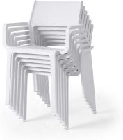 An Image of Nardi Set of 6 Chairs, White Fibreglass & Resin