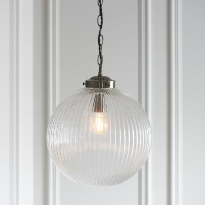 An Image of Vogue Glass College Pendant Fitting Antique Brass