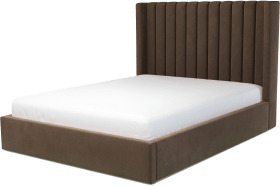 An Image of Cory King Size Ottoman Storage Bed, Mushroom Taupe Cotton Velvet