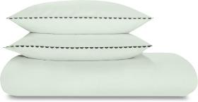 An Image of Kokoda Cotton Trim Duvet Cover + 2 Pillowcases, Double, Seagrass Green