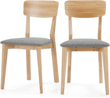 An Image of Jenson Set of 2 Dining Chairs, Mountain Grey & Oak