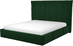 An Image of Lamas Super King Size Bed with Storage Drawers, Bottle Green Velevt