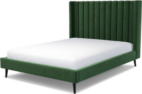 An Image of Cory King Size Bed, Lichen Green Cotton Velvet with Black Stained Oak Legs