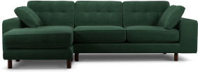 An Image of Content by Terence Conran Tobias, Left Hand facing Chaise End Sofa, Plush Hunter Green Velvet, Dark Wood Leg