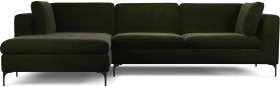 An Image of Monterosso Left Hand Facing Chaise End Sofa, Dark Olive Velvet with Black Leg