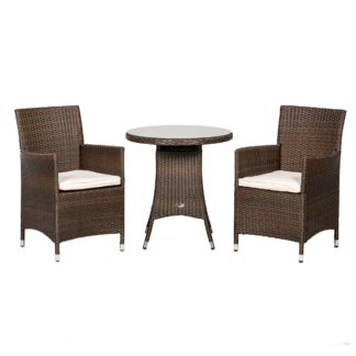 An Image of Cannes 2 Seater Mocha Bistro Set Brown