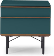 An Image of Vincent Bedside Tables, Petrol Blue and Walnut Stain