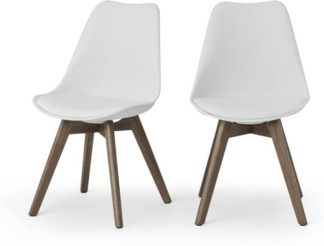 An Image of Deon Set of 2 Dining Chairs, White with Dark Stain Legs