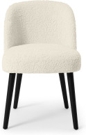 An Image of Swinton Dining Chair, Faux Sheepskin with Black Legs