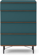 An Image of Vincent Tall Chest of Drawers, Petrol Blue & Walnut Stain