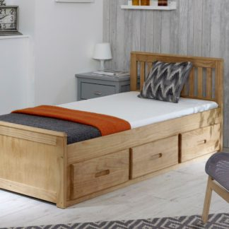 An Image of Mission Waxed Pine Storage Bed Brown