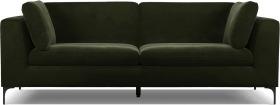 An Image of Monterosso 3 Seater Sofa, Dark Olive Velvet with Black Leg