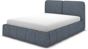 An Image of Maxmo Double Bed with Storage Drawers, Denim Cotton