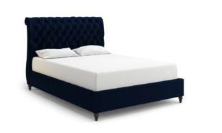 An Image of MiBed Cheshire Velvet Kingsize Bed Frame - Blue