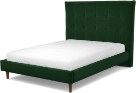 An Image of Lamas Double Bed, Bottle Green Velvet with Walnut Stained Oak Legs
