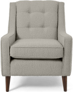 An Image of Content by Terence Conran Tobias Armchair, Dove Grey Boucle with Dark Wood Leg
