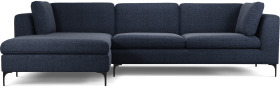 An Image of Monterosso Left Hand Facing Chaise End Sofa, Textured Mist Blue with Black Leg