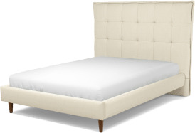 An Image of Lamas Double Bed, Putty Cotton with Walnut Stained Oak Legs