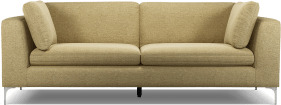 An Image of Monterosso 3 Seater Sofa, Textured Yellow Mustard with Chrome Leg