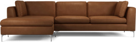 An Image of Monterosso Left Hand Facing Chaise End Sofa, Denver Tan Leather with Chrome Leg