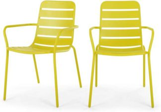 An Image of Tice Set of 2 Garden Dining Chairs, Chartreuse