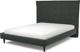 An Image of Lamas King Size Bed, Etna Grey Wool with Black Stained Oak Legs