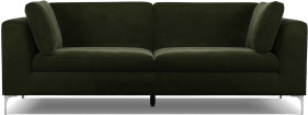 An Image of Monterosso 3 Seater Sofa, Dark Olive Velvet with Chrome Leg