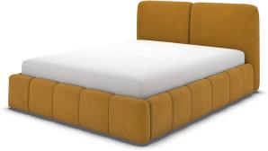 An Image of Maxmo Double Ottoman Storage Bed, Dijon Yellow Cotton Velvet