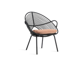 An Image of Vincent Sheppard Rocco Outdoor Lazy Chair Black Spice Scatter Cushion