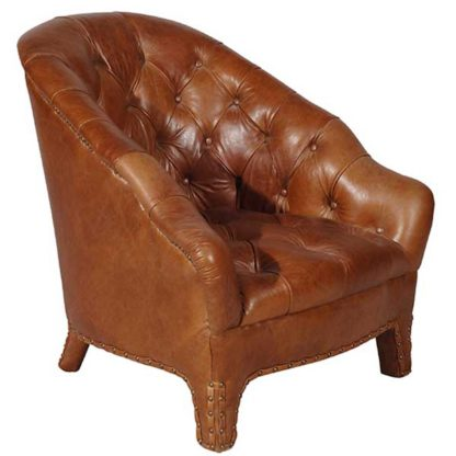 An Image of Timothy Oulton Branco Leather Armchair Old Saddle Nut