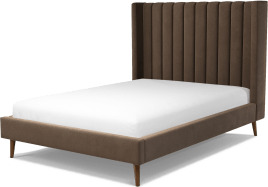 An Image of Cory Double Bed, Mushroom Taupe Cotton Velvet with Walnut Stained Oak Legs