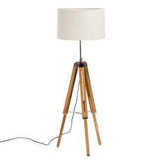 An Image of Atlas Adjustable Tripod Floor Lamp - Teak Wood & Vanilla Shade - Diameter: 76cm x H170cm
