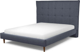 An Image of Lamas King Size Bed, Navy Wool with Walnut Stained Oak Legs