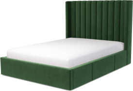 An Image of Cory Double Bed with Storage Drawers, Lichen Green Cotton Velvet