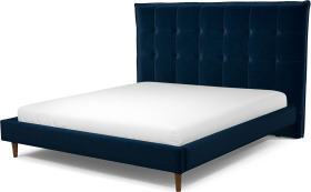 An Image of Lamas Super King Size Bed, Regal Blue Velvet with Walnut Stained Oak Legs