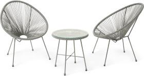 An Image of 2 Seat Garden Aperitif Set, Grey