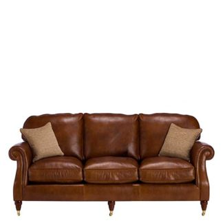 An Image of Parker Knoll Meredith Leather Grand Sofa London Saddle - Barker & Stonehouse