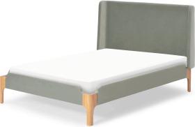 An Image of Roscoe Double Bed, Sage Green Velvet & Oak