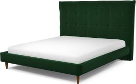 An Image of Lamas Super King Size Bed, Bottle Green Velvet with Walnut Stained Oak Legs