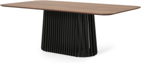An Image of Zaragoza 8 Seat Dining Table, Walnut & Charcoal Black