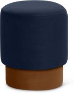 An Image of Volta Pouffe, Small, Interstellar Blue & Cinnamon Velvet