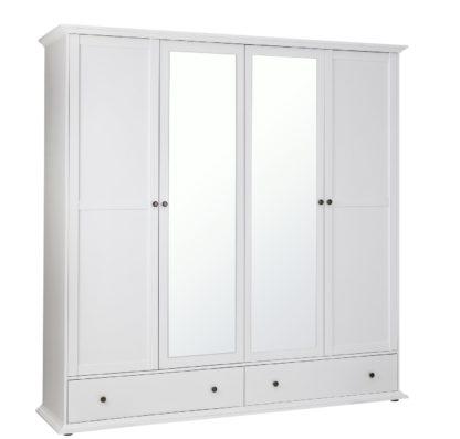 An Image of Habitat Heathland 4 Door 2 Drawer Mirror Wardrobe - White