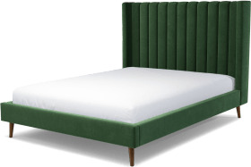 An Image of Cory King Size Bed, Lichen Green Cotton Velvet with Walnut Stained Oak Legs