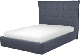 An Image of Lamas Double Ottoman Storage Bed, Navy Wool