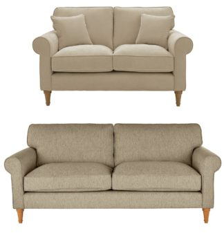 An Image of Habitat William Fabric 2 Seater & 3 Seater Sofa - Natural