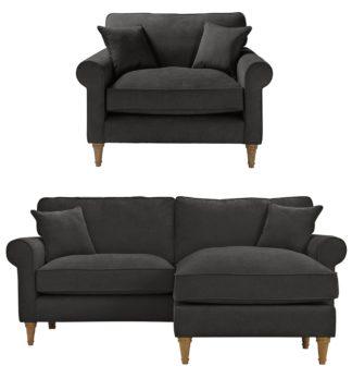 An Image of Habitat William Fabric Chair & Corner Sofa - Charcoal