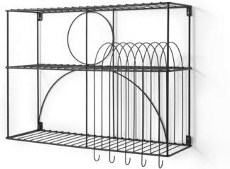 An Image of Gulli Extra Large Wall Mounted Kitchen Storage Rack, Black