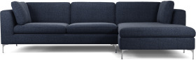 An Image of Monterosso Right Hand Facing Chaise End Sofa, Textured Mist Blue with Chrome Leg