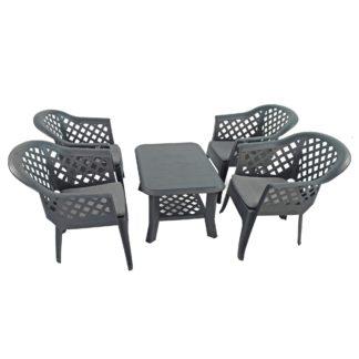 An Image of Savona 4 Seater Conversation Set with Savona Chairs Grey